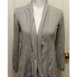 Zara Knit Cardigan M Gray Heather Rolled Hem